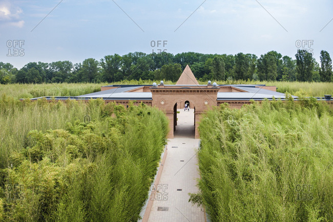 Parma, Italy -June 1, 2015: Labyrinth, the biggest maze of bamboo by Franco Maria Ricci