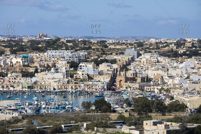 Malta - October 29, 2017: Aerial view of the historic city of Marsaxlokk