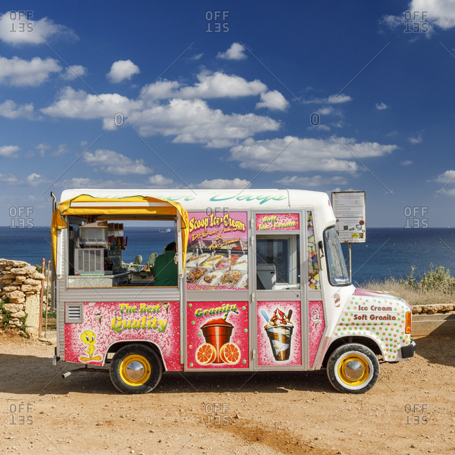 Malta - October 29, 2017: Ice cream van at St. Peter's Pool