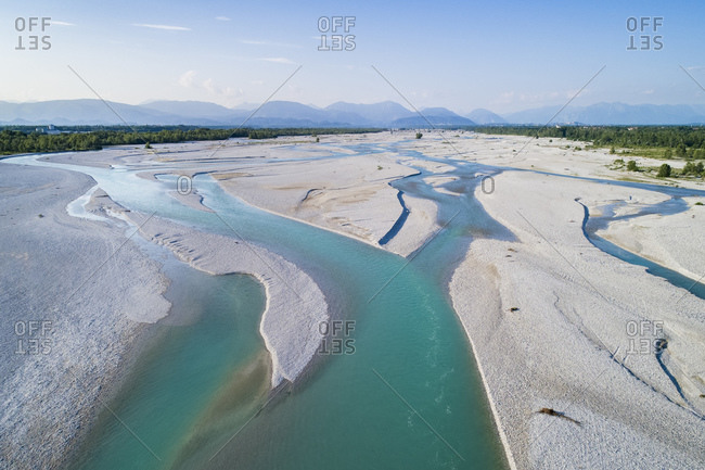 The Tagliamento river from above, panoramic view, Friuli Venezia Giulia, Italy, Europe