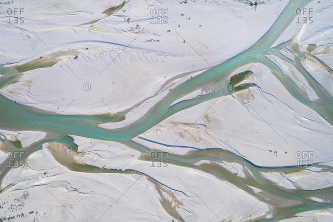 Detail of the Tagliamento river from above, Friuli Venezia Giulia, Italy, Europe
