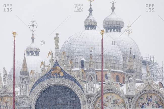 Domed roof of the St Mark's Basilica on a snowy day, Venice, Italy
