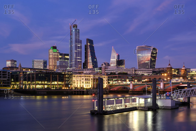 The scenic cityscape view of the high-rise office buildings in the financial district of the city of London