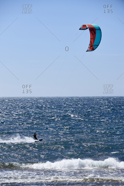 Hyeres, Var, France - April 5, 2018: Kite surfers on famous beach l'Almanarre