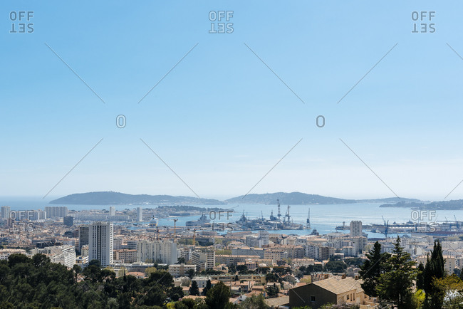Panoramic view of Toulon bay and harbor from Mont Faron hill, Var France
