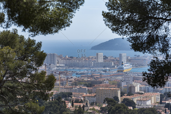 Var, France - April 6, 2018: Panoramic view of Toulon bay and harbor from Mont Faron hill