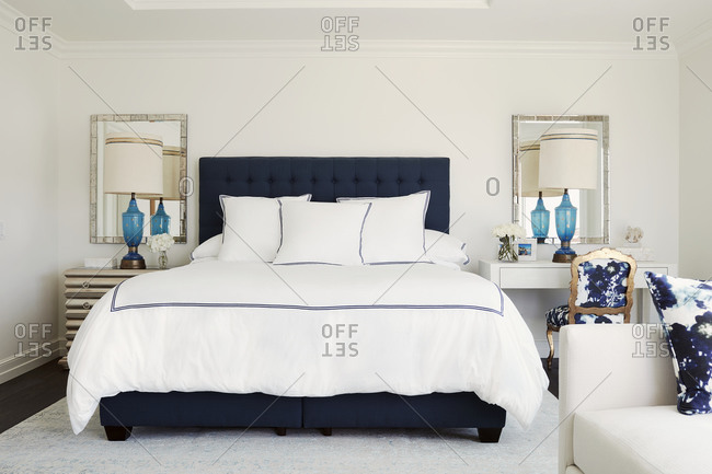 Laguna Beach, California - July 21, 2017: Bedroom with blue and white d�cor