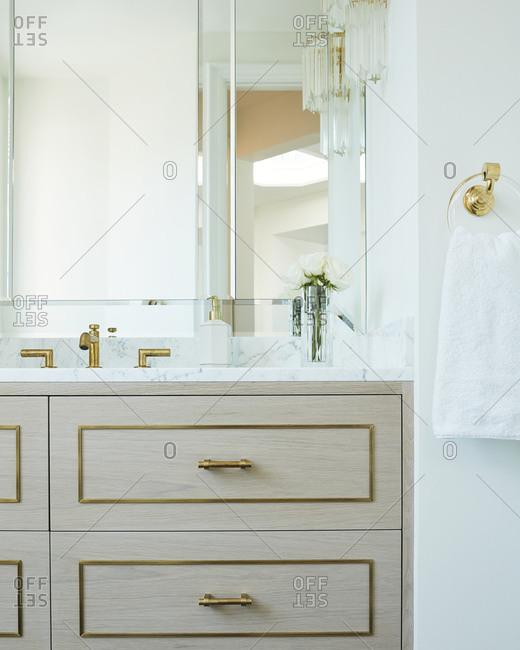 Upscale bathroom vanity in a Laguna Beach, California home