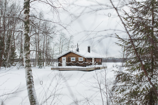 Rural house in snowy forest