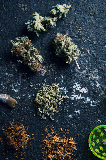 Marijuana buds and cigarette for making joint