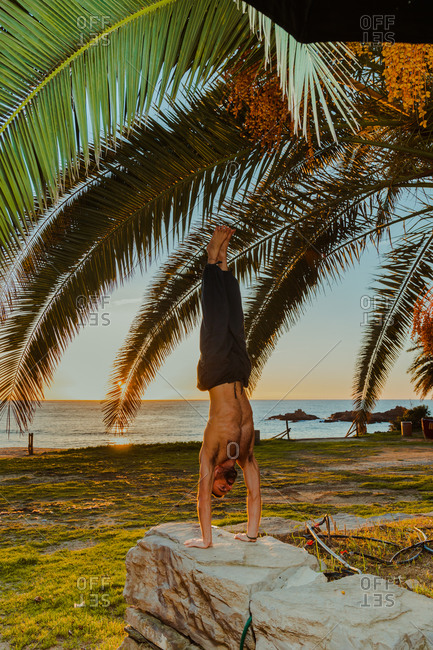 Side view of anonymous male shirtless athlete doing yoga poses on rocky fence with empty beach blue sea and palm leafs on background during sunset