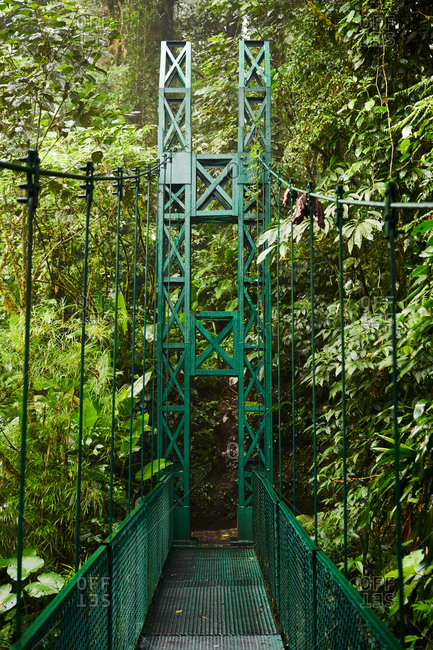 Narrow metal bridge exit near green bushes and trees in jungle in Costa Rica