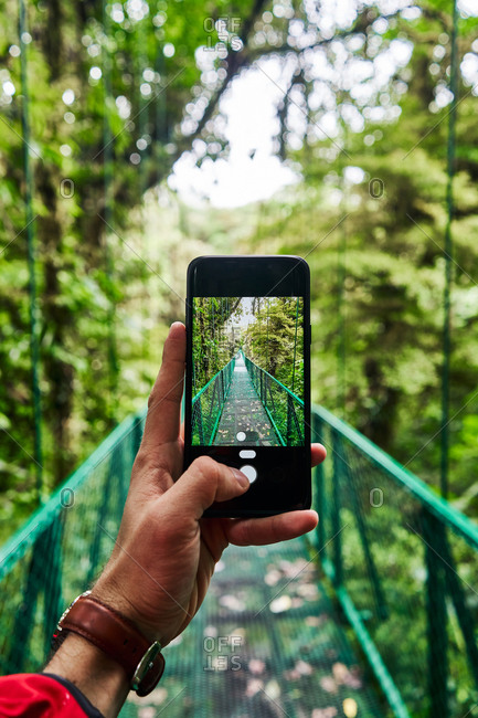 Unrecognizable traveler using smartphone to take picture of bridge going through green jungle during journey in Costa Rica