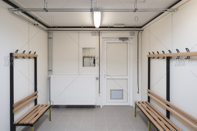 Changing room in a public bathroom