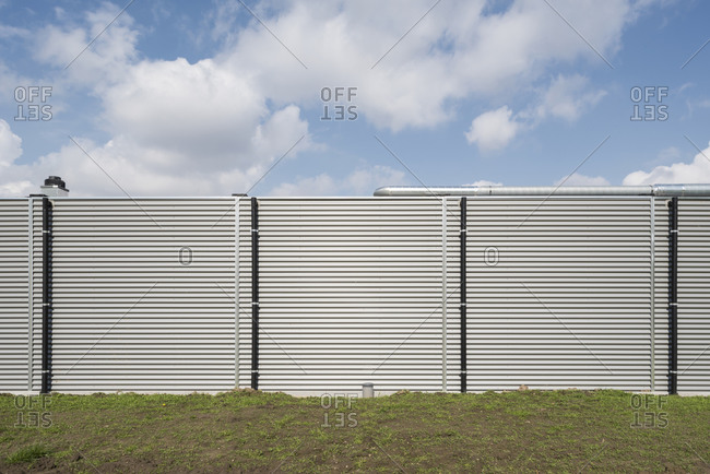 Modern building with white aluminum exterior