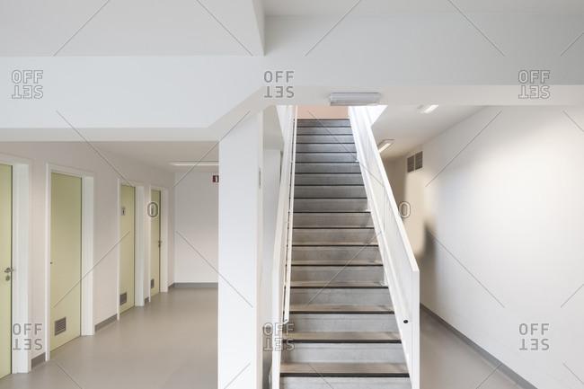 Stairs inside a modern school building