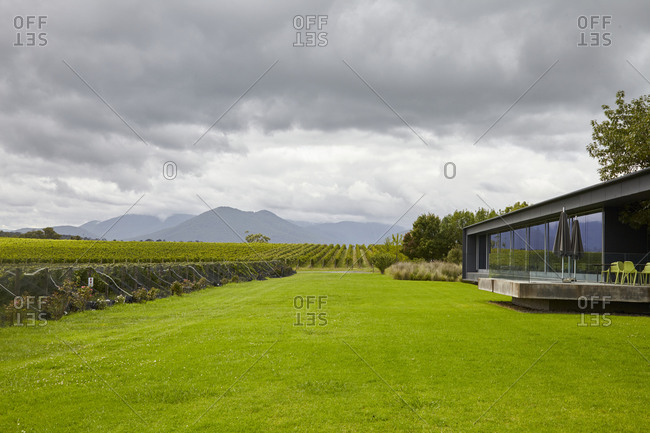 Building overlooking vineyard in the Yarra Valley in Victoria, Australia