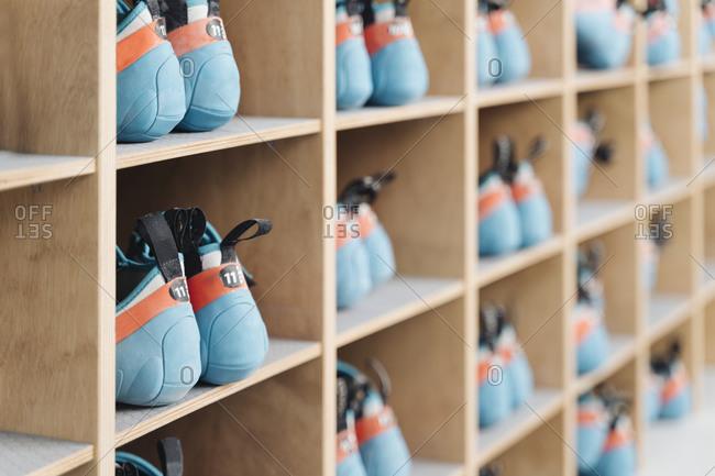 Climbing shoes in shelf