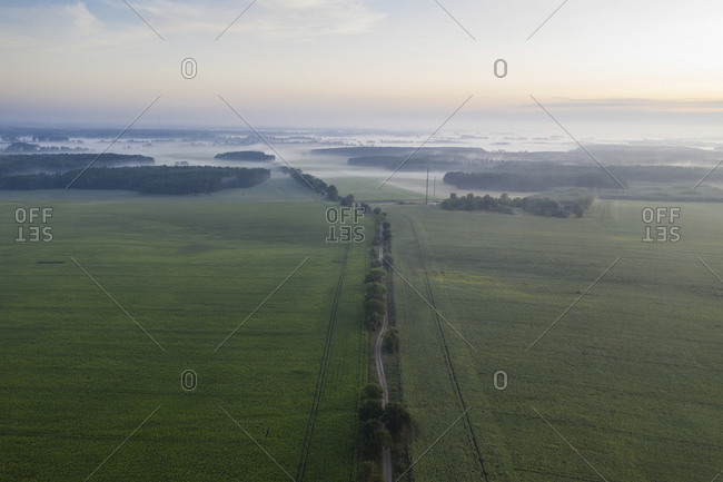 Germany- Brandenburg- Drone view of country road and green fields at foggy dawn