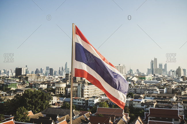 Thai flag and view to the city- Bangkok- Thailand