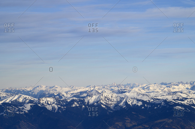 Switzerland- Appenzell- Aerial view of snowcapped Alps