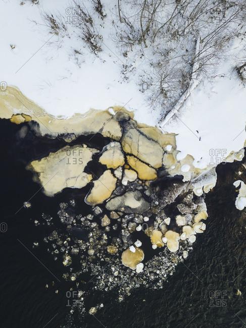 Russia- Leningrad Region- Tikhvin- Aerial view of Tikhvinka river in Winter