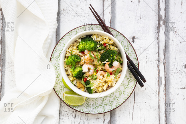 Fried basmati rice with broccoli and shrimp- chili- coriander- lime- ginger