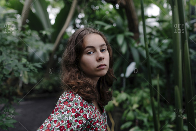 Portrait of female teenager in Botanical Garden