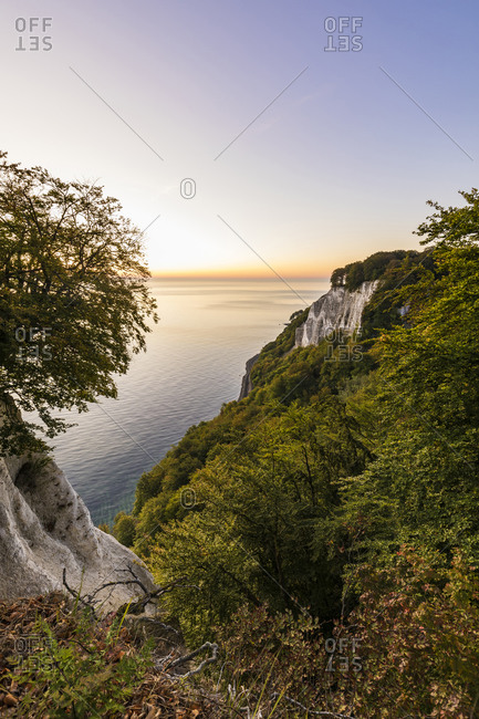 Germany- Mecklenburg-West Pomerania- Ruegen Island- Jasmund National Park- Chalk cliffs and Baltic sea at sunset