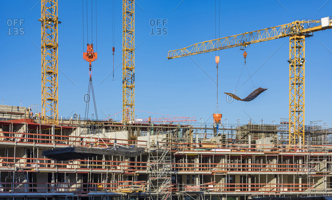 Germany- Baden-Wurttemberg- Stuttgart- Construction site of apartment buildings