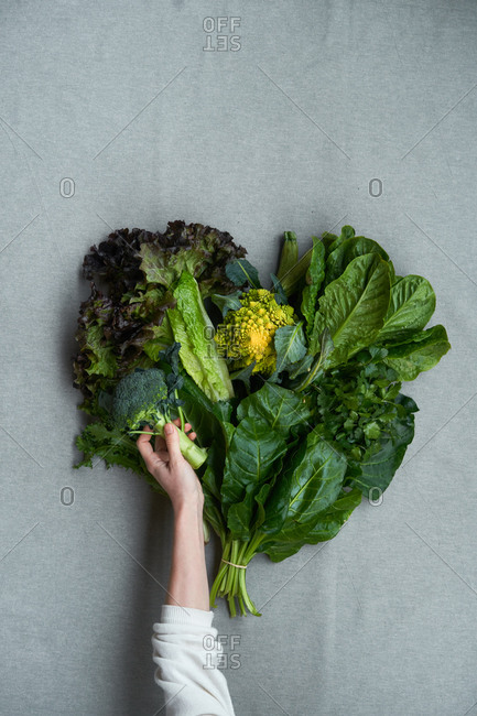 Woman holding a bunch of leaves and broccoli on gray background