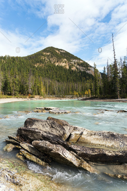 Clear turquoise water by Lake Louise in Banff National Park Canada