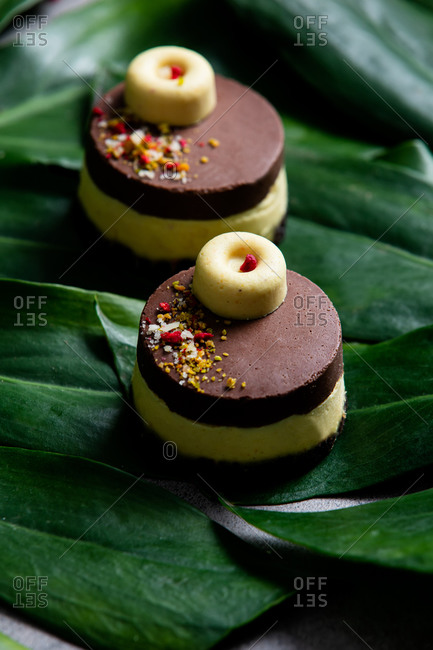 Raw cake made of mango, cashew, coconut oil and dates