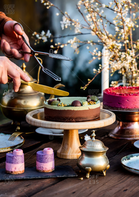 tea time in the garden with raw cake on a table