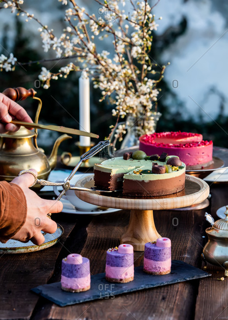 woman holds a cake during a tea party in the garden
