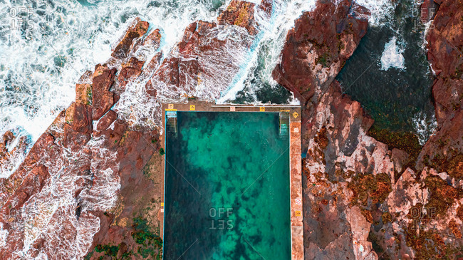 Aerial view of a Rockpool one of the Northern Beaches State of New South Wales, Sydney,Australia