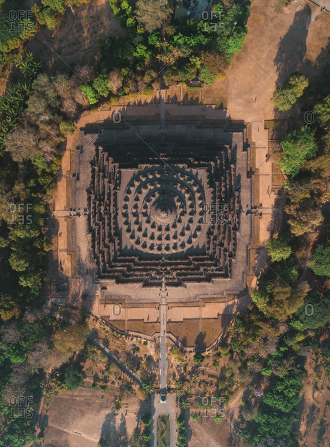 Aerial view of Borobudur temple in Magelang, Java Central, Indonesia