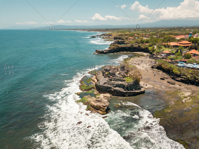 Aerial view of the Tanah Lot Temple in Tabanan Regency, Bali, Indonesia