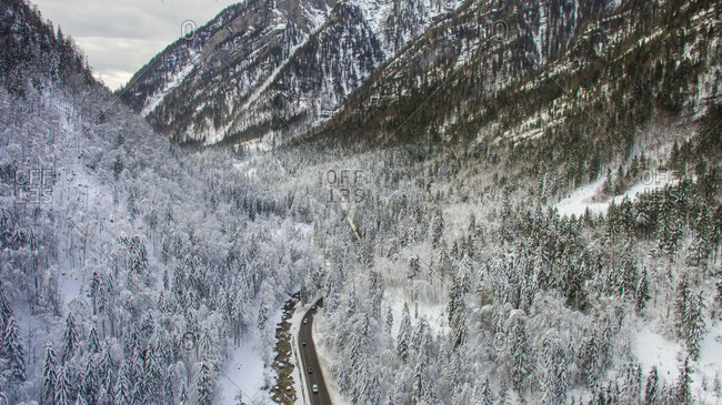 Aerial view of the road and winter landscape near the famous tourist attraction Hallstat in Austria.