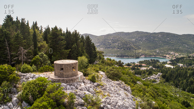 Aerial view of WW2 military bunker used by Italian and German troops during the conflicts near the city of Polce in Dalmatia, Croatia.
