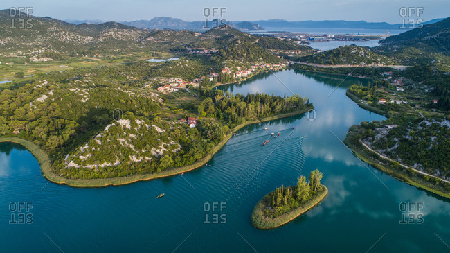 Aerial view of boats during the traditional boat race on Basina lakes near the city of Polce in Dalmatia, Croatia.