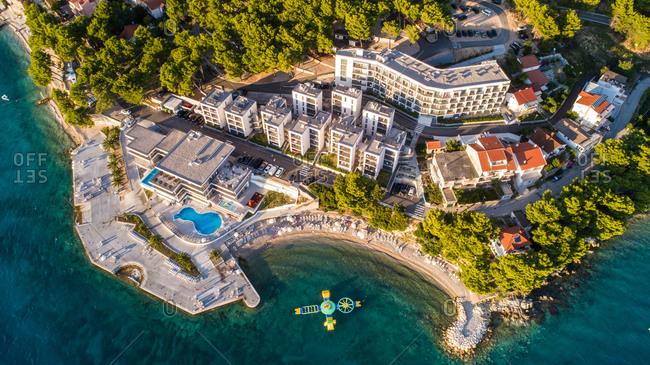 Aerial view of Morenia hotel complex and surrounding landscape of Zaostrog in Dalmatia, Croatia.