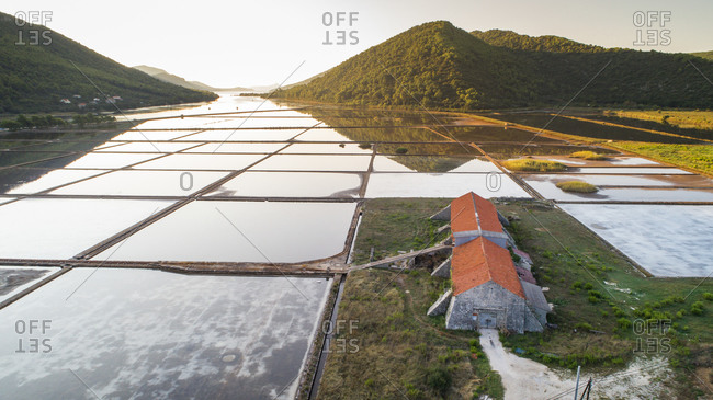 Aerial view of saltworks at the famous city of Ston in Dalmatia, Croatia.