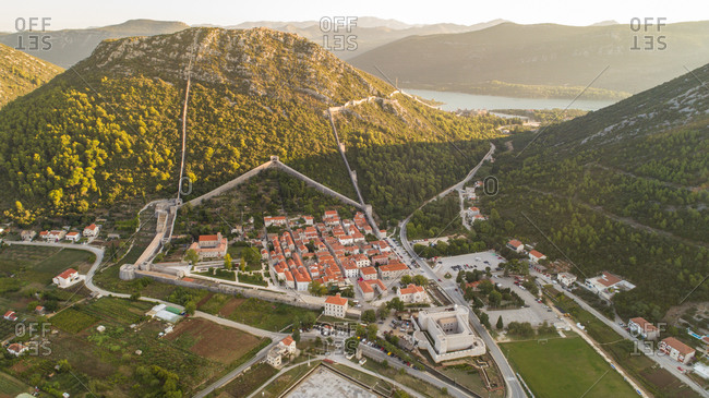 Aerial view of famous tourist city of Ston in Dalmatia, Croatia. Famous for its walls and old saltworks.