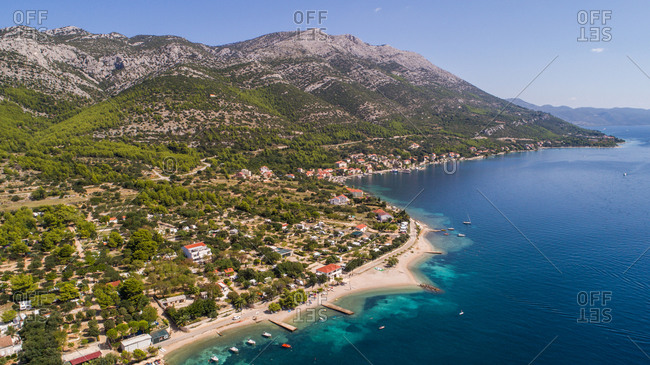 Aerial view of famous tourist place of Viganj on Pejeta peninsula in Dalmatia, Croatia. One of the best places for surfing in Croatia.