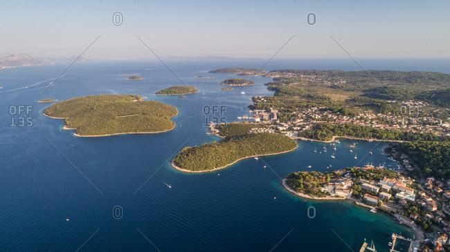 Aerial view of Kordula island landscape and view toward Lumbarda in Dalmatia, Croatia.