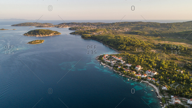 Aerial view of Kordula island landscape and famous tourist place Lumbarda in distance. Situated in Dalmatia, Croatia.