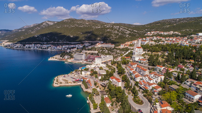 Aerial view of the city of Neum, famous place on a road to Dubrovnik. Situated in Bosnia and Herzegovina.