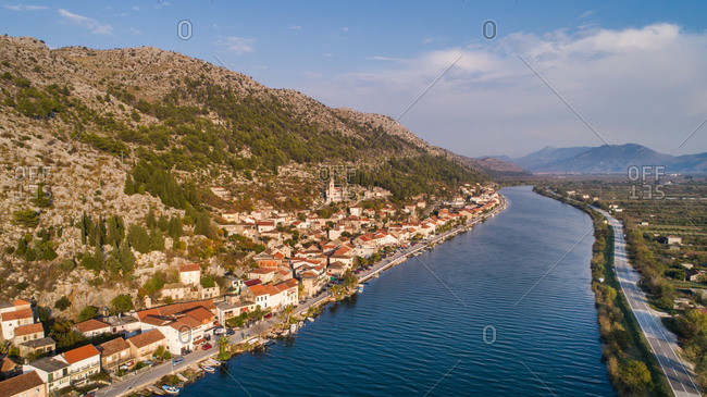 Aerial view of small town of Komin in Neretva valley. Situated near Opuzen in Dalmatia, Croatia.