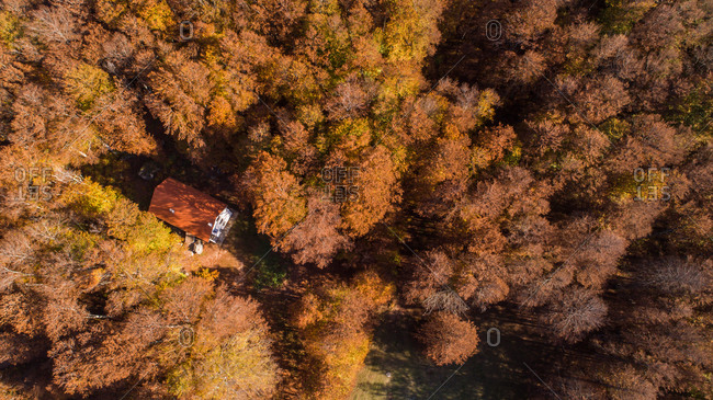 Aerial view of highest Croatian mountain Dinara autumn  landscape and mountain hut on it. Situated near the city of Knin in Dalmatia, Croatia.
